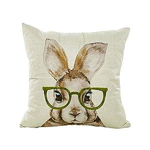 LEEDY Happy Easter Pillow Cute Rabbit Set Sofá de Lino Funda de cojín Decoración para el hogar