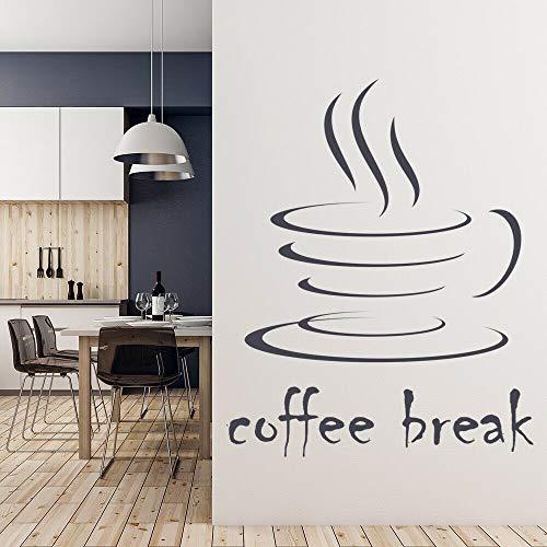 N / A Tee Wandtattoo Wort Vinyl Aufkleber dampfende Tasse Essen Getränk Wandkunst Küche Café Innendekoration Wandaufkleber57x59 cm