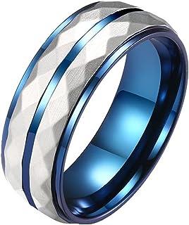 خواتم للرجال من التيتانيوم الصلب خواتم هدية للرجال أزرق وفضي متطابق