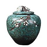 WWZZ Cremation Urns para Cenizas de cerámica de cerámica de cerámica Ajustos cremados Soluciones China Estilo Patrón de Ciruelo, Decoraciones de Cenizas Commínate de Alta Temperatura