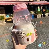 TUANTUAN 1 botella de agua de plástico de 480 ml, forma de yakult, linda botella de la coctelera de cartón de la leche kawaii para niños/niña/adulto, color4