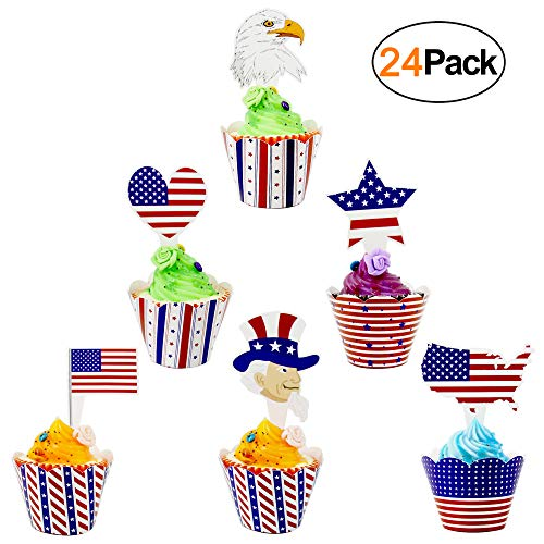 4th of July Party Supplies Cupcake Toppers and Wrappers 24 Pack Red White Blue Patriotic Cupcake...