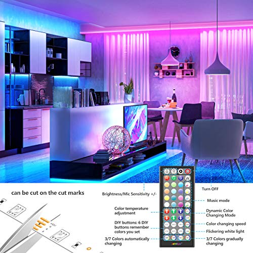 50Ft LED Strip Lights Music Sync Color Changing RGB LED Strip 44-Key Remote, Sensitive Built-in Mic, App Controlled LED Lights Rope Lights, 5050 RGB LED Light Strip(APP+Remote+Mic+3 Button Switch) 6