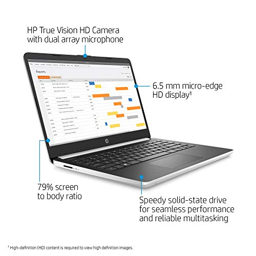 2021 Newest HP 14'' HD Home and Business Laptop PC, Intel i3-1005G1 Dual-Core Processor, 8GB DDR4 RAM, 128GB M.2 SSD, Intel UHD Graphics, Webcam, HDMI, Type-C, Silver, Windows 10 Pro w/RE Accessories