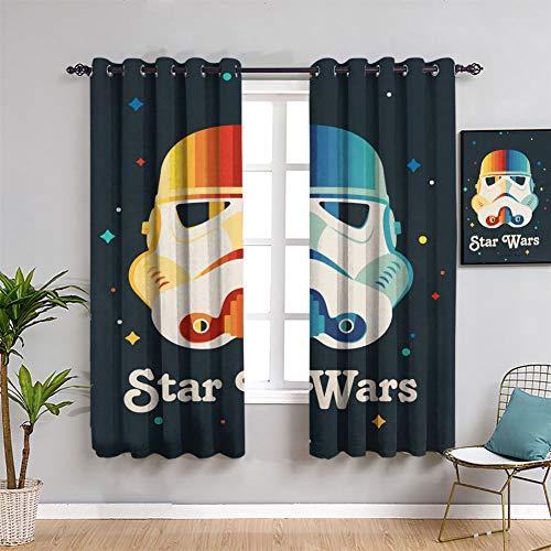 Rainbow Star Wars Trooper Cortinas de oscurecimiento con aislamiento térmico y aislamiento térmico, cortina opaca de 182 x 163 cm