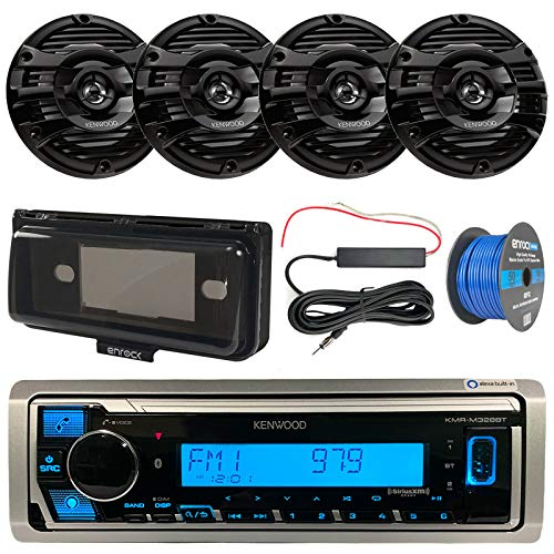 """Bay Boat Audio Package: Kenwood Marine Bluetooth Receiver Bundle Combo with Radio Cover, 4X Kenwood 6.5"""" 2-Way Marine Speakers (Black), Amp Booster Kit, 50 Ft 16G Tinned Speaker Wire"""
