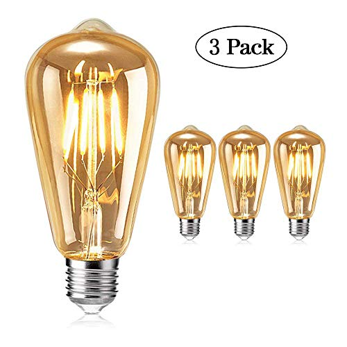 Edison Vintage Glühbirne, tonitott Edison LED Glühbirne Warm Licht E27 4W Vintage Antike Glühbirne Retro Filament Lampe für Nostalgie und Retro Beleuchtung im Haus Café Bar usw-3 Stück
