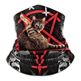 Satanic Cat Pentagram Death Black Metal Unisex Fleece Neck Polaina Calentador Invierno Windproof Ski Face Balaclava Half para Mujeres Hombres