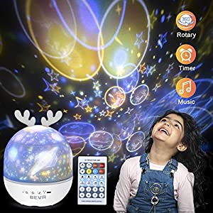Night Light for Kids, BEVA Star Light Projector Rechargeable with 360 Degree Rotating, Color Changing Nursery Lamp with Remote Control, Best Gift for Baby Girls Boys Birthday Bedroom Party Decoration