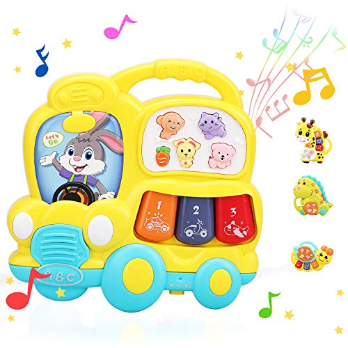 STEAM Life Educational School Bus Toy - Baby Musical Toy - Light Up Toy Piano - Crib Music Toy for Babies and Toddlers - Toy Keyboard for Toddlers - Perfect Toys for 2 Year Old Boys and Girls