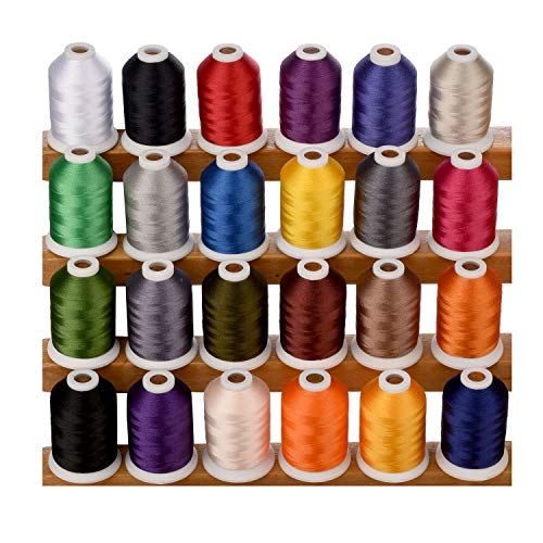 Simthread 1100 Yards 1000m miniking Spool 24 Assorted Colors Trilobal Polyester Embroidery Machine Thread for Special Designs on Most Home Embroidery Sewing Machines
