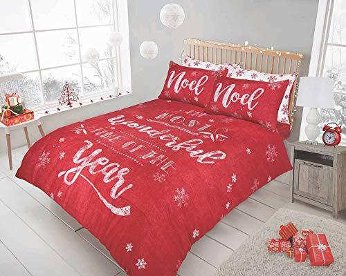 Sleepdown - Set copripiumino e federe reversibili con Babbo Natale (lavagnetta natalizia rossa e King)