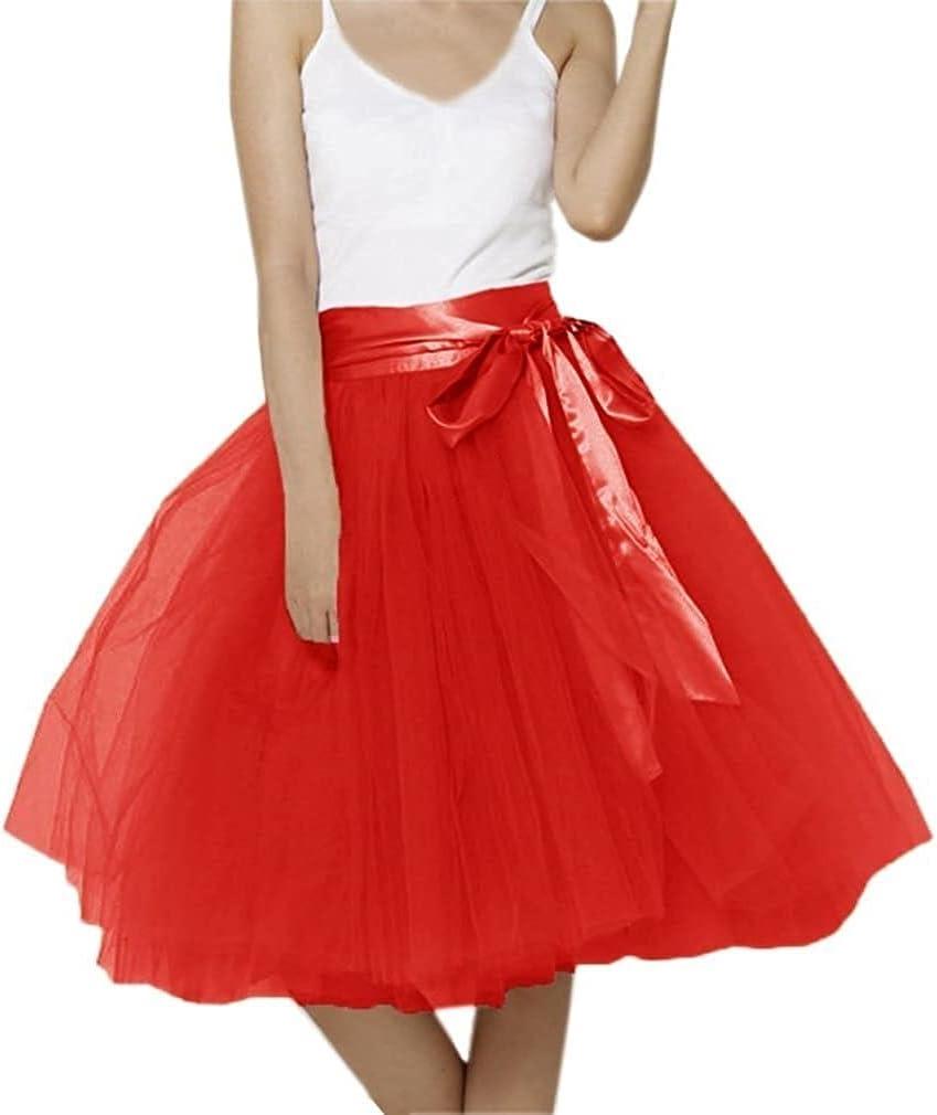 Women's XL Long Skirt, A-line Short Skirt, Tulle Long Skirt, Tulle Wedding Dress, Tulle Dress (Color : Red, Size : X-Large)
