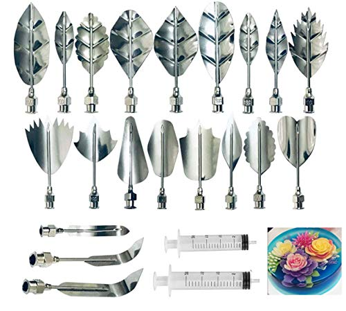 Gelatin Art Starter Kit - 3D Jelly Flower Cake Decorating Tool Set of 20 Piece DIY Needle Tips Pastry Tools