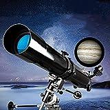 Telescopio de Arco con priscador 90 °, telescopio para Principiantes, Longitud Focal de 80 mm portátil de 900 mm, telescopio Refractor con trípode y Bolsa de Transporte.