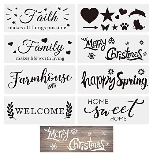 SAVITA 8 Stück 36x14cm Bauernhaus Schablonen zum Malen auf Holz, Frohe Weihnachten Willkommen Wiederverwendbare Schablonen für DIY Basteln Schreiben an Tür, Wand, Wohnkultur