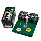 DBGA Set de Póker Caja de Metal, 200 Fichas de Póker, 2 Cubiertas, Botón de Repartidor, Ciega Pequeña, Gran Ciega, Tapete de Juego, Fácil de Transportar Set de Póker y Blackjack