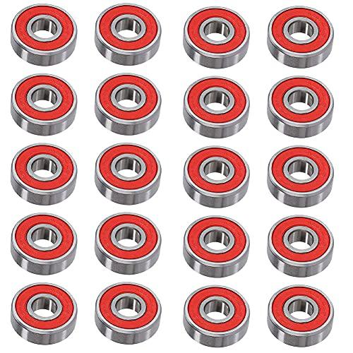 Los Cojinetes Del Patín Doble Protección Ruedas Rodamientos De Bola De Longboard Patín De Ruedas Rodamientos 608rs- Abec-9 Piezas De Repuesto Para Los Monopatines, Patines En Línea, 20pcs Scooters