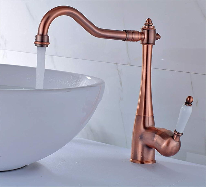 Basin Mixer Tap Bath Fixtures Wash Basinsinkkitchen All Copper Red Bronze Handle, redary Hot and Cold Water Faucet, European Retro Basin Top Basin Faucet.