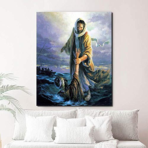 DHDHH Jesus Walking On The Water Abstract Art Canvas Poster Painting Oil Wall Picture Print Minimalist Home Bedroom Decoration Artwork 50x70cm No Frame