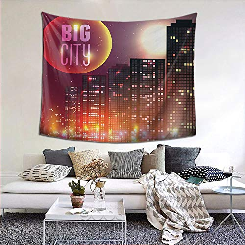 JKTOWN Modern Wall Tapestry Hanging for Living Room Bedroom 80x60 inch Big City Theme Urban Skyline Night Lights Full Moon Stars and Skyscrapers Image Multicolor