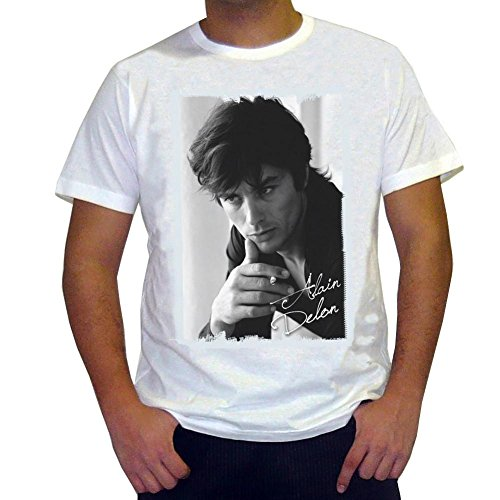 One in the City Alain Delon : T-Shirt,Cadeau,Homme, cŽlŽbritŽ 7015242,Blanc, L,t Shirt Homme