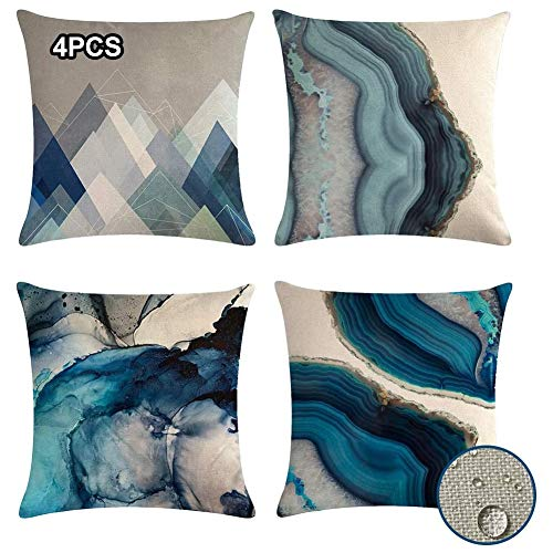 SONGJOY Cushion Covers 45cm x 45cm, Pack of 4, Geometric Waterproof Cushion Covers for Outdoor Indoor Bench Livingroom Sofa Bedroom Furniture Abstract