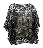 Bob Mackie Women's Top Size M Sequin Floral Caftan Black A283728