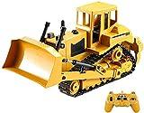 BHJH7 Camión RC Bulldozer de control remoto Bulldozer de juguete Modelo de tractor Caterpillar Coches de ingeniería Excavadora Simulación de orugas Vehículo de ingeniería grande eléctrico para niños J