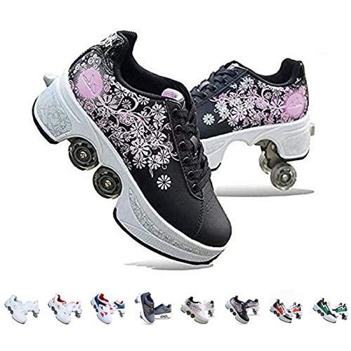 Rollschuhe Damen/Mädchen/Kinder,Skateboards Schuhe Mit Rollen,2 In 1 Inline Skates,Verstellbare Quad Skate Rollerskates,Laufschuhe Sneakers Für Unisex,Mehrfarbig Optional,Schwarzdruck-39