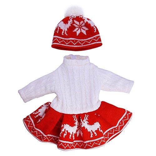 Zeagro Puppenkleidung, Puppenkleidung Kleid Outfit Pullover Winterkleidung Set für 18 Zoll American Girl Puppe Rot