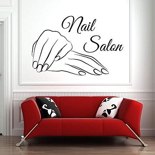 Salón de uñas tatuajes de pared arte pegatinas de pared decoración uñas manos manicura pedicura salón de belleza patrón papel tapiz
