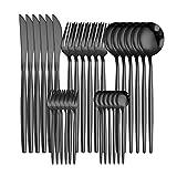 Set de cubiertos occidentales Juego de vajillas de 30 piezas Set de vajilla de acero inoxidable Vajilla Cuchara negra Cuchillo de tenedor Cuchillo Conjunto Casa Completa Casa Flotware