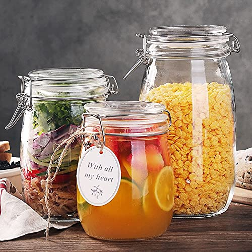 Glass Jars with Airtight Lids, 32oz 4pcs Storage Canister Airtight Jars, Wide Mouth Glass Jars with Hinged Lids for Food Storage, Decorating, Kitchen Canisters (Labels & Leak Proof Rubber)