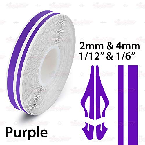 AutoXpress   1/12' & 1/6' 2mm & 4mm Purple Roll Pinstriping Styling Trim Coachline Pin Stripe Self Adhesive Line Car Motorcycle Truck Bike Model Vinyl Tape Decal Stickers   32 ft 9.80m