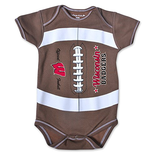 NCAA Wisconsin Badgers Kids MVP Football Bodysuit, 12 Months, Brown