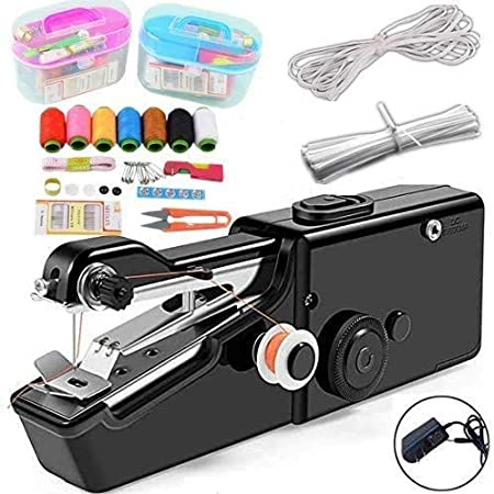 White TooFu Hand-held Portable Electric Sewing Machine Set Mini Household Hand-held Electric Sewing Machine with Free Sewing Kit
