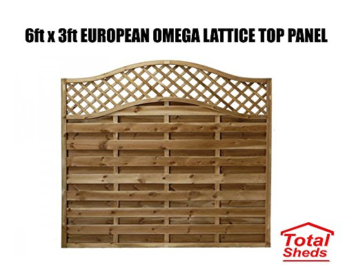 Total Sheds European Fence Panel 1.83m x 0.9m (6 x 3) Omega Decorative Lattice Top Pressure Treated Tanalised