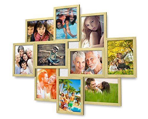 Artepoint 1002 Fotogalerie für 10 Fotos 13x18 cm - 3D Optik - Bilderrahmen Bildergalerie Fotocollage Rahmenfarbe Gold gebürstet
