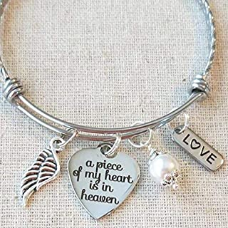 A Piece Of My Heart Is In Heaven Remembrance Bracelet, Memorial Sympathy Loss Bracelet Gift, Sympathy Gift In Memory Bracelet, Loss Of Loved One Gift