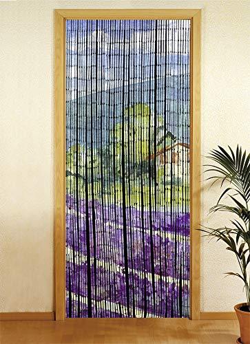 Wenko Bambusvorhang, Türvorhang mit Motivdruck, Raumteiler Fliegenvorhang, Aufhänge Vorrichtung, Bambus