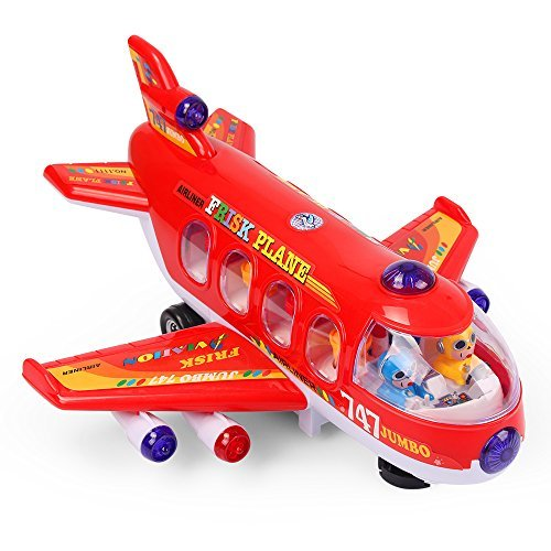 NextX Bump And Go Action 747 Airplane Toys with Lights And Sounds - Changes Direction On Contact ,Electronic learning Education Toys For Kids Age 3 And Up (Red)