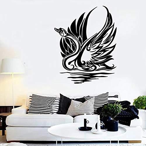 yuandp muursticker vinyl raam sticker zwaan vogel golf stamkunst slaapkamer woonkamer hoofddecoratie elegante dier muurschildering beweegbaar 42 * 52cm