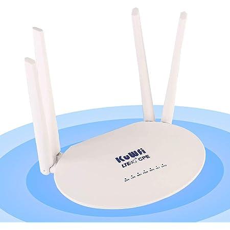 KuWFi 300Mbps Desbloqueado 4G LTE CPE Router con Ranura para Tarjeta SIM con una Potente Antena 4pcs no Desmontable WiFi Hotspot Cat4 150Mbps ...