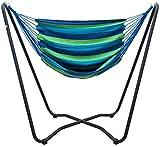 AMANKA Set Completo Soporte de Metal 175x100x155cm Incl Hamaca para Sentarse tumbarse máx 150kg a Rayas Azul y Verde