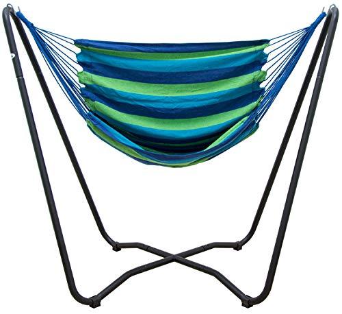 AMANKA Set Support en Acier 175x100x155cm INCL Hamac en Coton pour s'asseoir s'allonger Max 150kg à Rayures Bleu et Vert