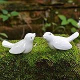 2/4 piezas Palomas de cerámica Decoración para el hogar Artesanía Decoración de la habitación Adorno de artesanía Porcelana Animal Estatuillas de pájaros Decoraciones de boda para kit de chimenea, 2 pares