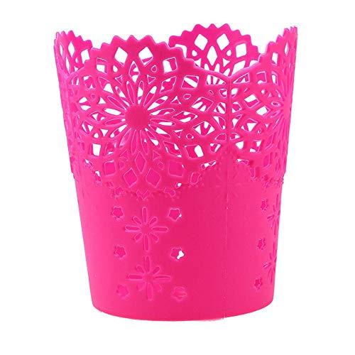 Vase Lace Hollow Out Makeup Pinsel Aufbewahrungshalter Schreibtisch Organizer Blumenvase Pot-Rose_Red