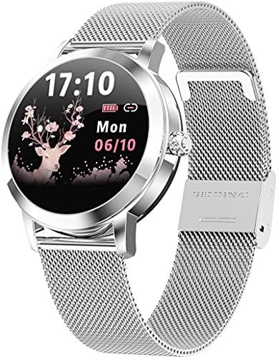 Smartwatch Damen Rosegold Mode Elegant Design Fitness Armband Blutdruck Herzfrequenz Schlafüberwachung Schrittzähler Sportuhr für Android iOS