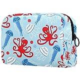 Bolsa de maquillaje Cosméticos Bolsa Organizador de Viaje Neceser Embrague Marino Rojo Pulpo Azul Medusa Concha 18.5x7.5x13cm